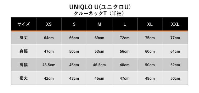 ユニクロUクルーネックTシャツのサイズ表